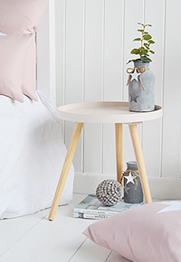 Grey Tripod wooden scandi small bedside table