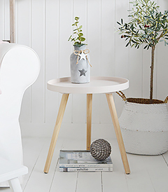 Small Portland pink table for New England living room furniture and home decor interiors