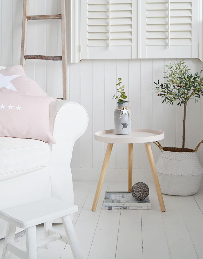 Portland pink simple New England style bedside table for country and coastal bedroom furniture