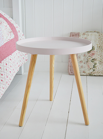 Portland Pink Tripod Table, Ideal Bedside Table For Girls Bedroom