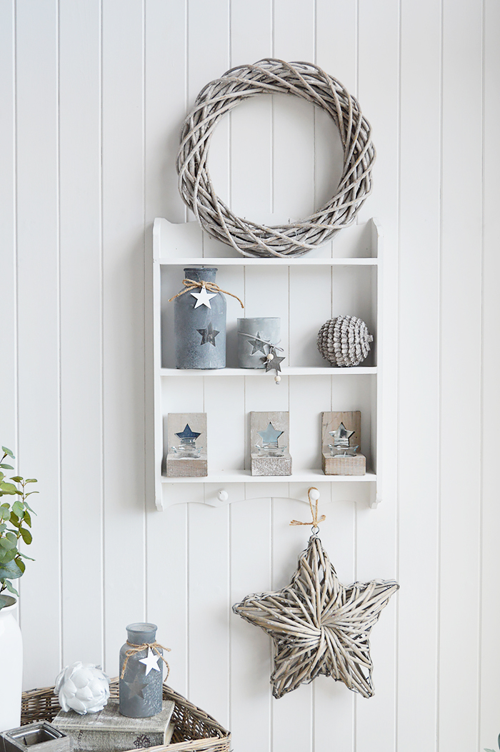 Provincetown white wall shelf with 2 shleves and hanging pegs