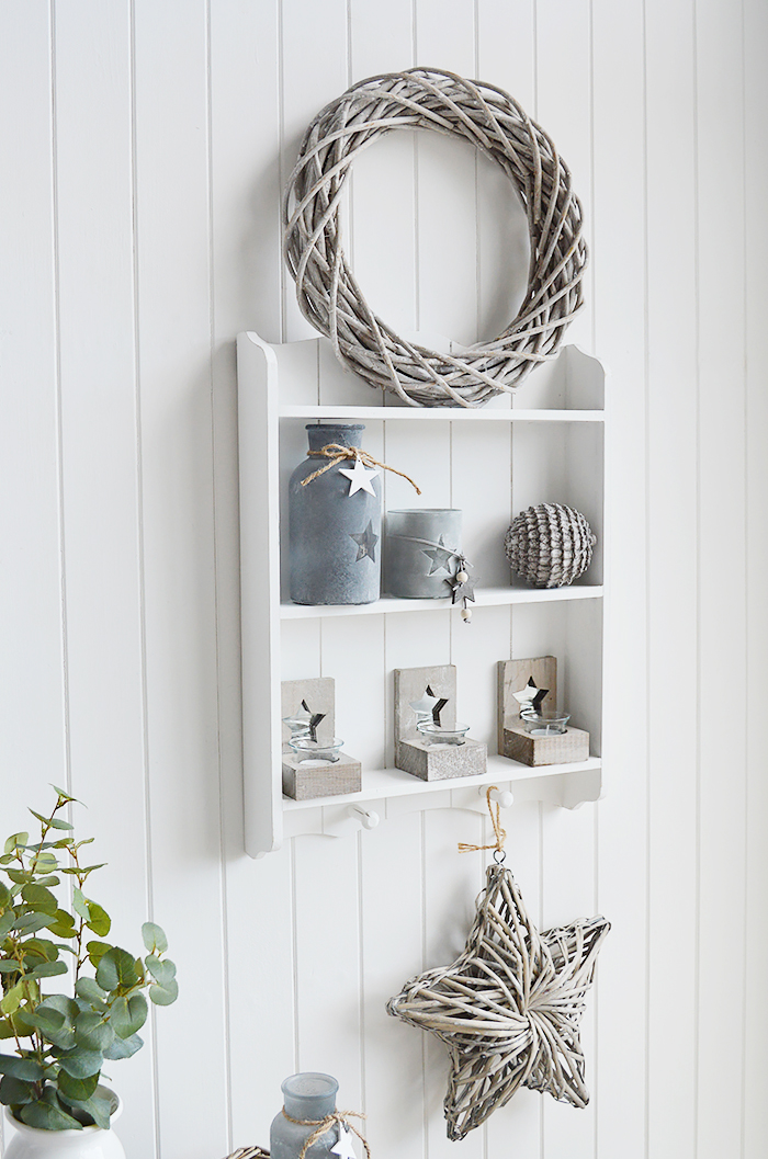 Provincetown white wall shelf with 2 shleves and hanging pegs for New England coastal and country interiors for hallway, living room, bedroom and bathrooms