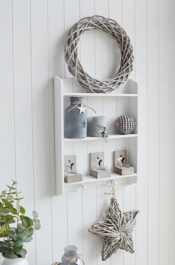 Shelves White Walls And Entry Ways: Provincetown White Wall Shelf With 2 Shelves And Pegs
