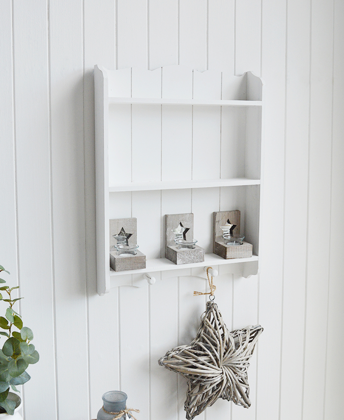 Provincetown white wall shelf with 2 shleves and hanging pegs for New England country and coastal home interiors
