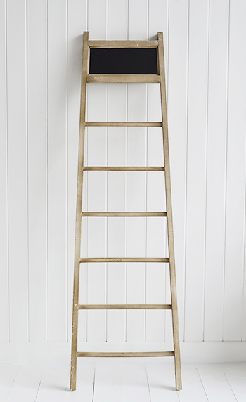Towel ladder with chalkboard