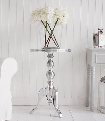 polished metal side table as a centre piece for your hall or living room