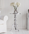 Polished metal ribbed lamp side table