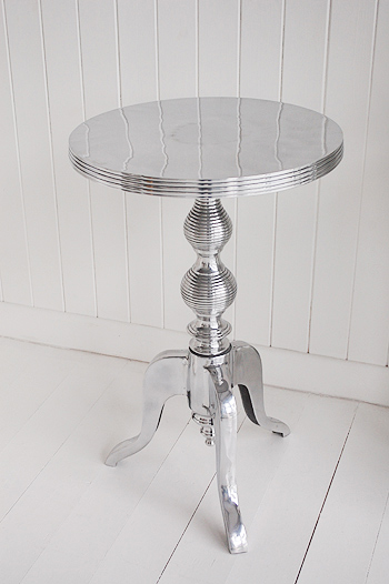 Kensington Polished Metal Silver Side Table White And