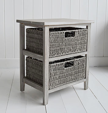 St Ives grey storage furniture for New England, Coasta, Beach and Cottage homes