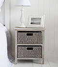St Ives Grey basket bedside table