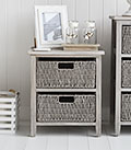 St Ives Grey two drawer basket storage