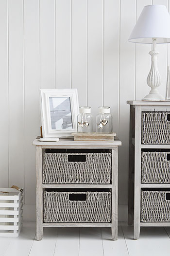 St Ives Grey Basket 2 Drawer Storage Furniture The White