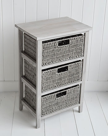 St Ives grey storage table with 3 baskets for living room furniture and bedroom