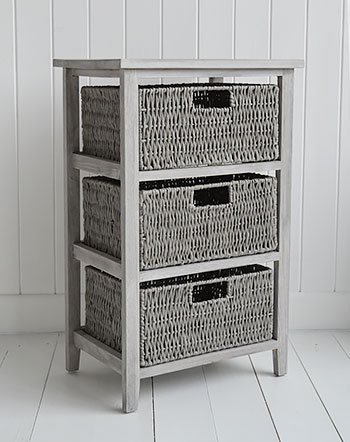 St Ives grey storage table with 3 baskets for living room and bedroom furniture for cottage, coastal and New England interior design