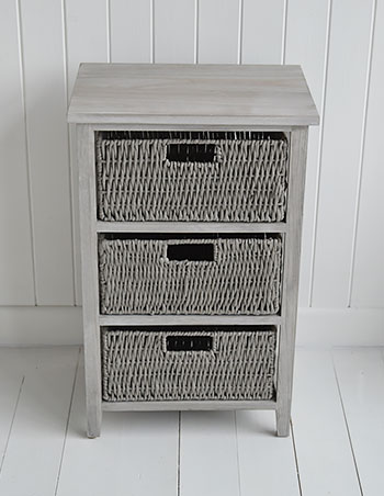 St Ives grey storage table with 3 baskets for living room and bedroom furniture for New England, Beach, Coatsal and French style homes
