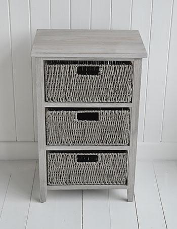 St Ives Grey Three Drawer Basket Storage Furniture The White Lighthouse