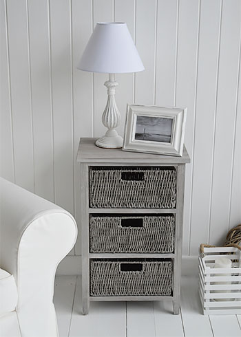 St Ives grey storage table with 3 baskets for living room and bedroom furniture
