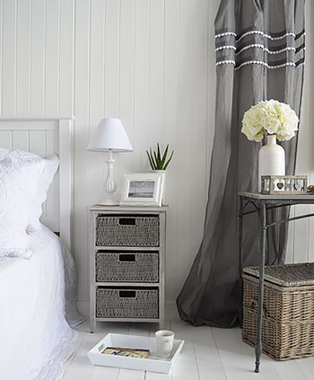 St Ives grey bedside table in white and grey bedroom interiors