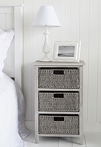 St Ives grey bedside table with 3 drawers