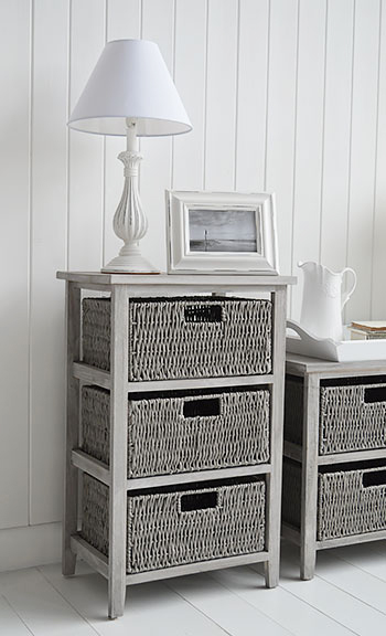 St Ives grey storage table with 3 baskets for living room furniture for  grey and white home