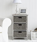 St Ives Grey three drawer basket storage