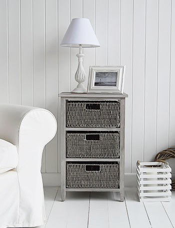 St Ives grey storage table with 3 baskets for living room furniture