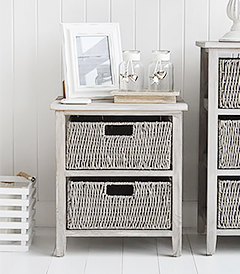 St Ives Grey two drawer basket bedside table for bedroom furniture