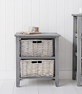 St Ives grey wooden storage furniture with 2 drawers