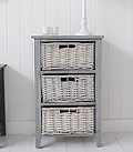 St Ives grey wooden storage furniture with 3 drawers