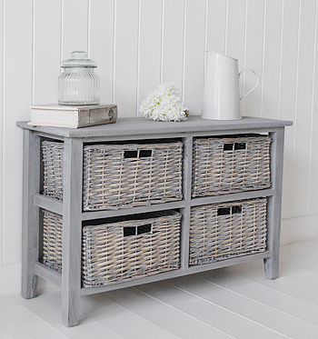 St Ives Grey 4 Drawer Low Basket Storage Furniture From