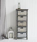 St Ives grey storage furniture with 5 basket drawers