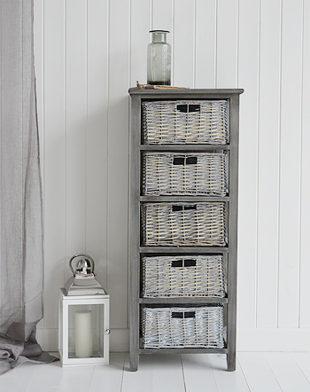 St ives grey 4 drawer low basket storage furniture from the white lighthouse for Grey bathroom storage cabinet