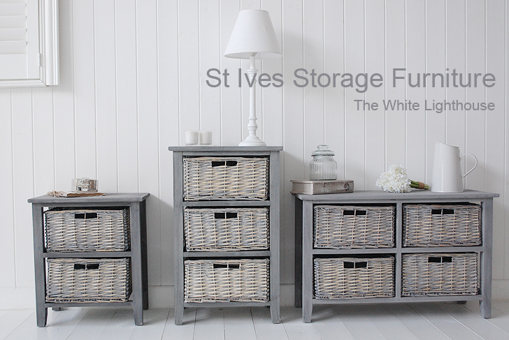 St Ives grey 2 drawer basket storage furniture from The