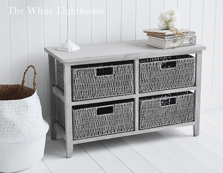 St Ives Grey Basket Storage Furniture Low Chest