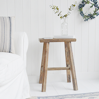 Coastal wooden small stools. Finished in white washed driftwood grey console table with shelf