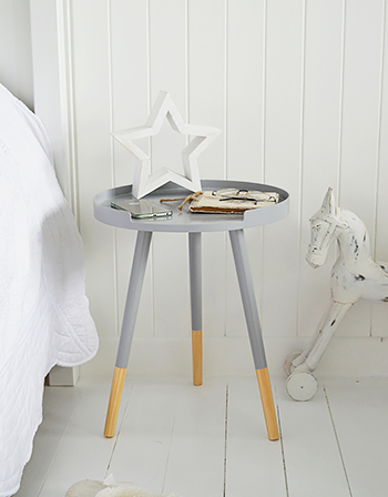 Small Grey Wooden Bedside Table With Tripod Legs