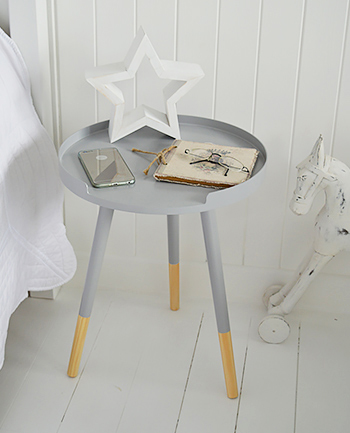 Grey lamp or bedside tripod table