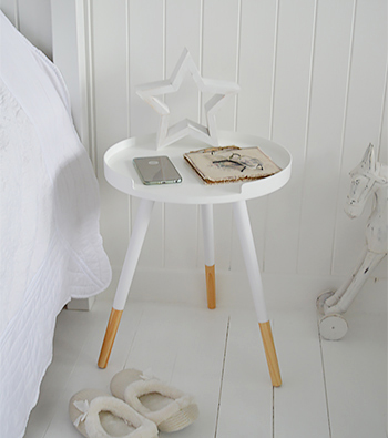 White tripod side lamp bedside table
