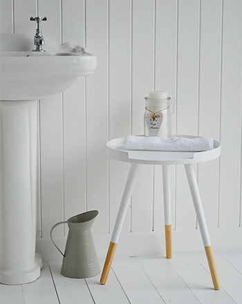 Small white table for bathroom