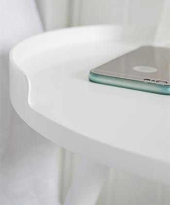 Small white bedside table
