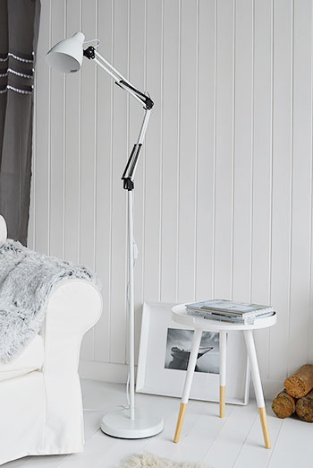 Tripod Scandi retro side lamp table in living room
