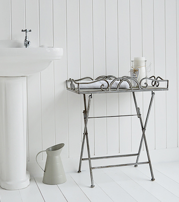 Grey folding table for bathroom furniture