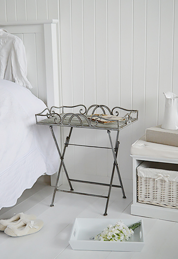 Grayswood Grey Side Bedside Table Metal Folding Table