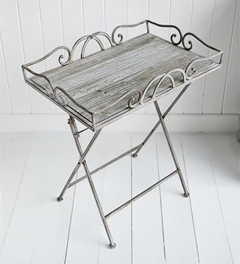 Folding grey side table in metal and wood
