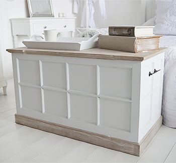 Vermon white blanket box for bedroom furniture