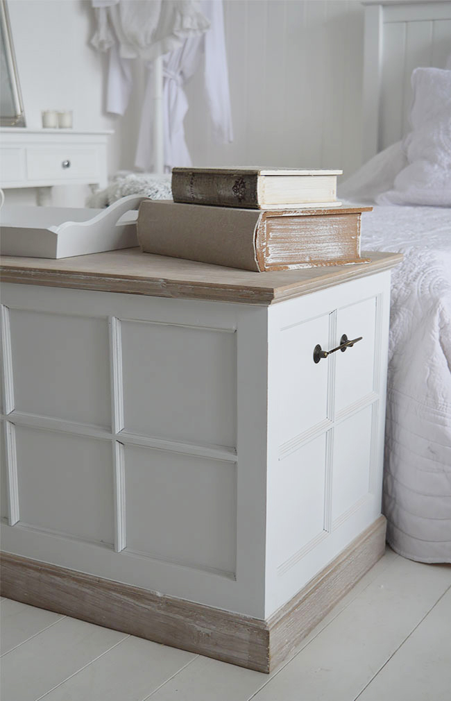 Vermont white blanket box for white bedroom storage furniture