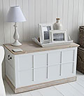 Vermont white storage trunk for tv stand or window seat