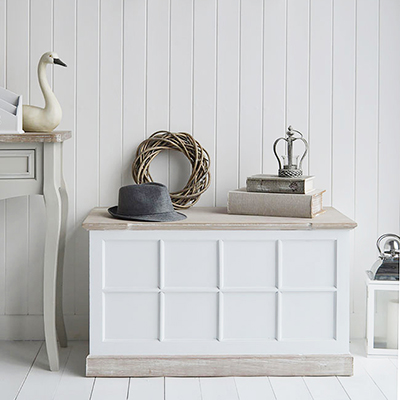 New England furniture and interiors for UK. Living, hallway, bedroom and bathroom home interiors