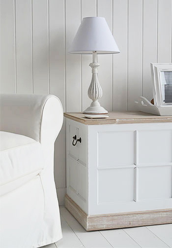 Vermont Small White Storage Trunk Tv Stand Hall Storage