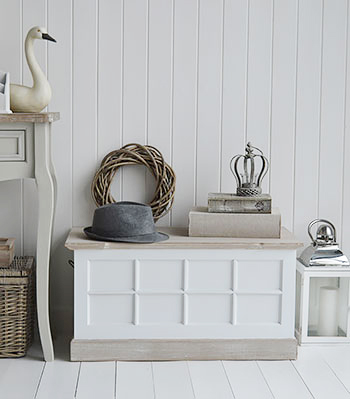 Vermont small white storage trunk for hallway storage furniture. The White Lighthouse Country, Scandi, White, Coastal and New England Furniture, Home Interiors and Lifestyle
